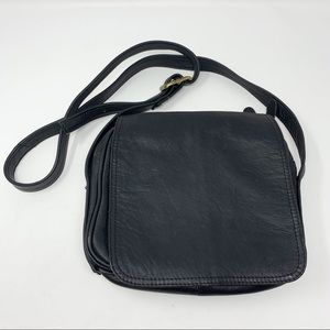 Latico Black Genuine Leather Crossbody with Flap
